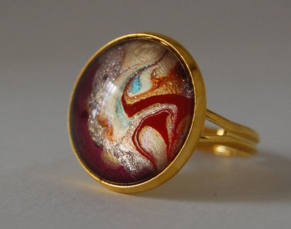 Ancient Elements  hand painted glass statement ring by JeweleaBlue