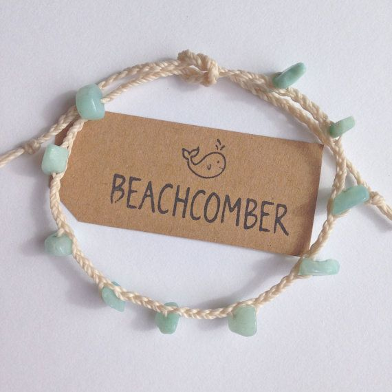 beach anklet amazonite anklet beach jewelry by beachcombershop