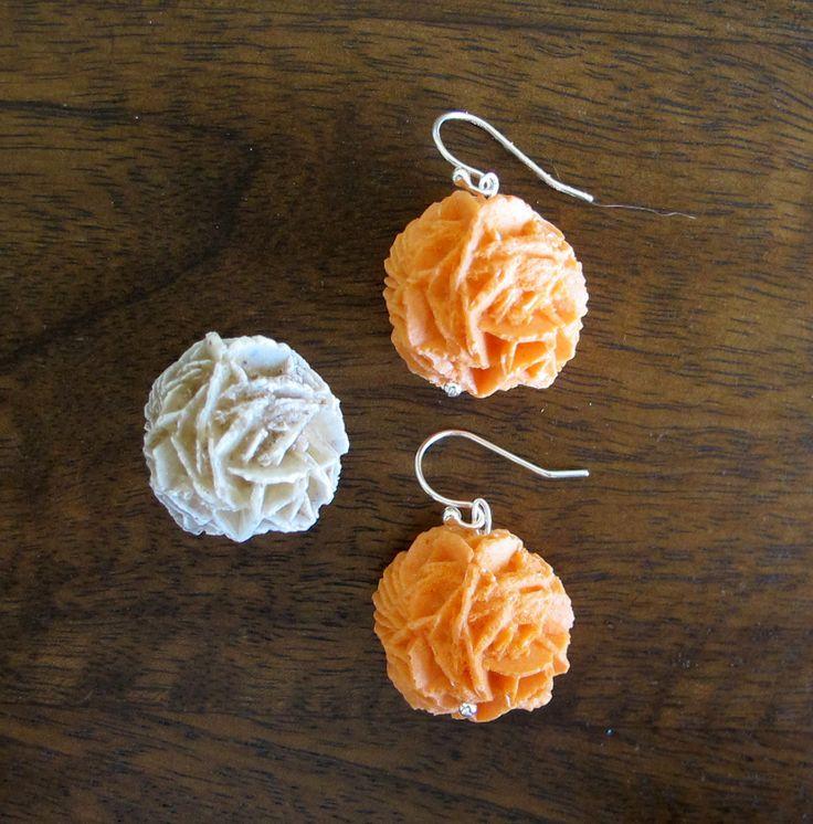 Orange Resin Earrings - Gypsum Desert Rose Mineral - Dinosaur Jurassic Jewellery by JurassicJewelleryAus on Etsy