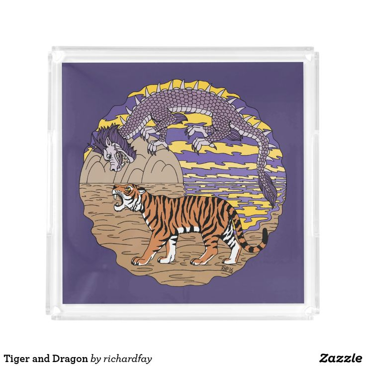 Tiger and Dragon Acrylic Tray.  Sunday Steal: 50% Acrylic Trays.  USE CODE: ZSUNSTEAL186.  Offer is valid through July 9, 2017 11:59PM PT.  #Zazzle #serving_tray #acrylic_tray #tray #tiger #dragon #Asian_dragon #eastern_dragon #Chinese_dragon #oriental_dragon #purple_dragon