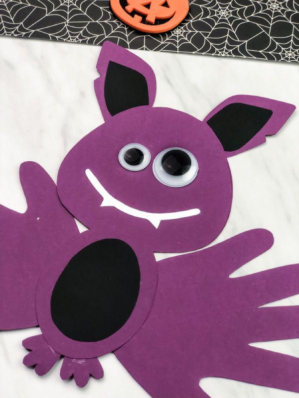 Easy Handprint Bat Craft For Halloween