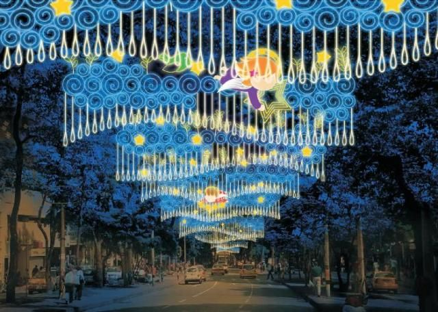 La Playa.These Christmas lights adorn the entire city and are setup along major thoroughfares, roads, parks and especially along the Medellin River
