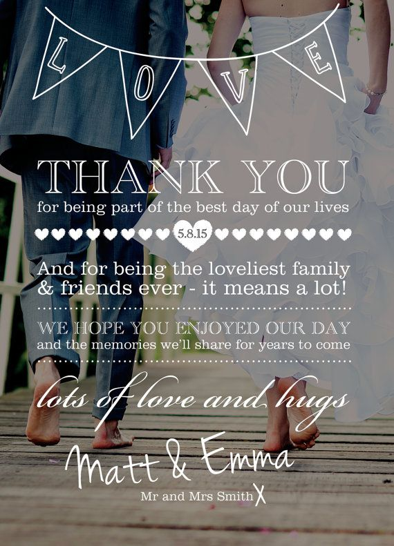 Invite instead of thank you . Personnalisés de mariage Merci Card Design sur Etsy, $37.60 CAD