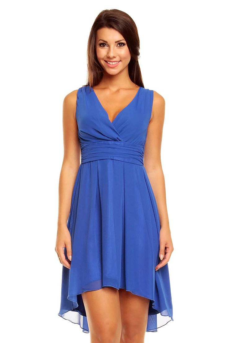 Blue Sassy Ruched Top Petite Dress
