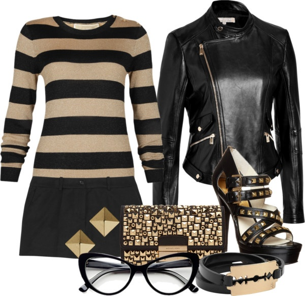 """Michael Kors Gold and Black"" by moo713 ❤ liked on Polyvore"