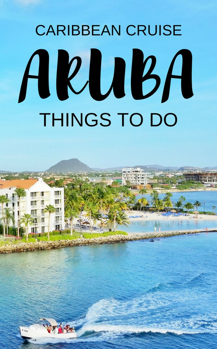 For things to do in Aruba during your Caribbean cruise without excursions, add these to your checklist for the walking tour of Aruba cruise port! You'll pass by downtown Oranjestad for shopping and food. Marina with boats, beach hotel, sand bar from cruise ship. Budget-friendly activities when you're not taking a tour. Cruise tips for your southern Caribbean cruise to Aruba that might include Grand Turk, Curacao, Bonaire, Dominican Republic, or Barbados... #cruise #cruisetips