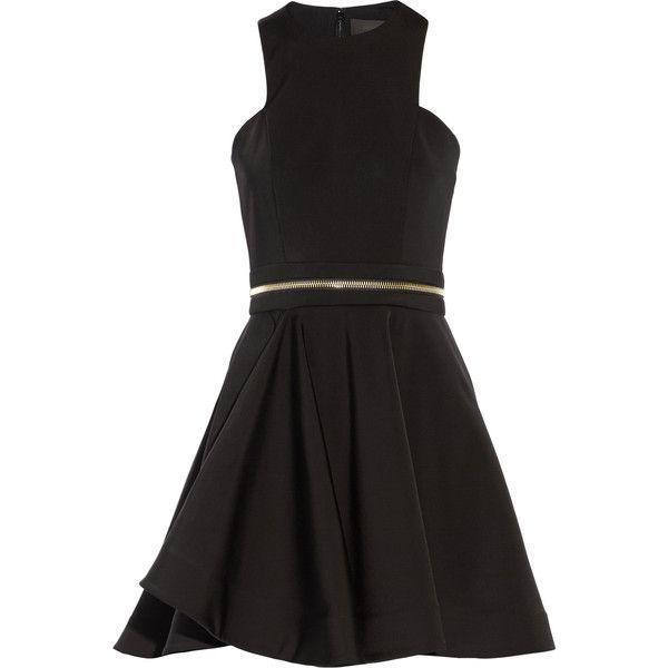 Cushnie et Ochs - Zip-embellished Neoprene Mini Dress ($598) ❤ liked on Polyvore featuring dresses, black, flare mini dress, flared dresses, cutout dresses, short graduation dresses and embellished dress
