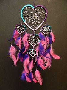 Heart-dream-catcher-rose-violet-turquoise-nursery-filles-chambre-a-coucher-decoration-cadeau