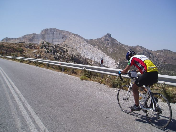 On our guided and self-guided tours, the route passes this striking white marble quarry near Kinidaros.
