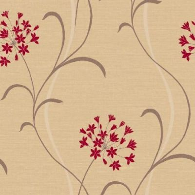 Mia Magenta (597713) - Arthouse Wallpapers - A pretty stylised agapanthus lily flower vertical trail.  Drawn here in cream and brown with deep magenta red flowers on neutral light weave textured background.  Please ask for sample for true colour match.
