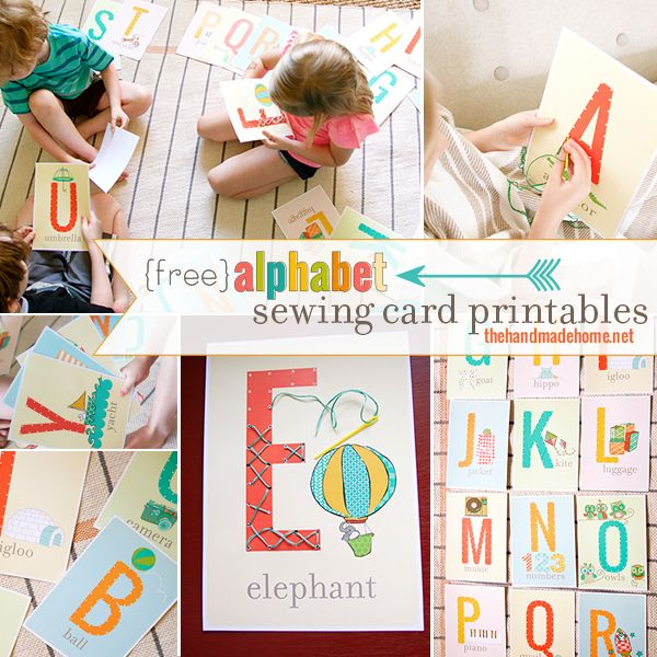 cartes à lacer http://www.thehandmadehome.net/2014/04/alphabet-sewing-card-printables/