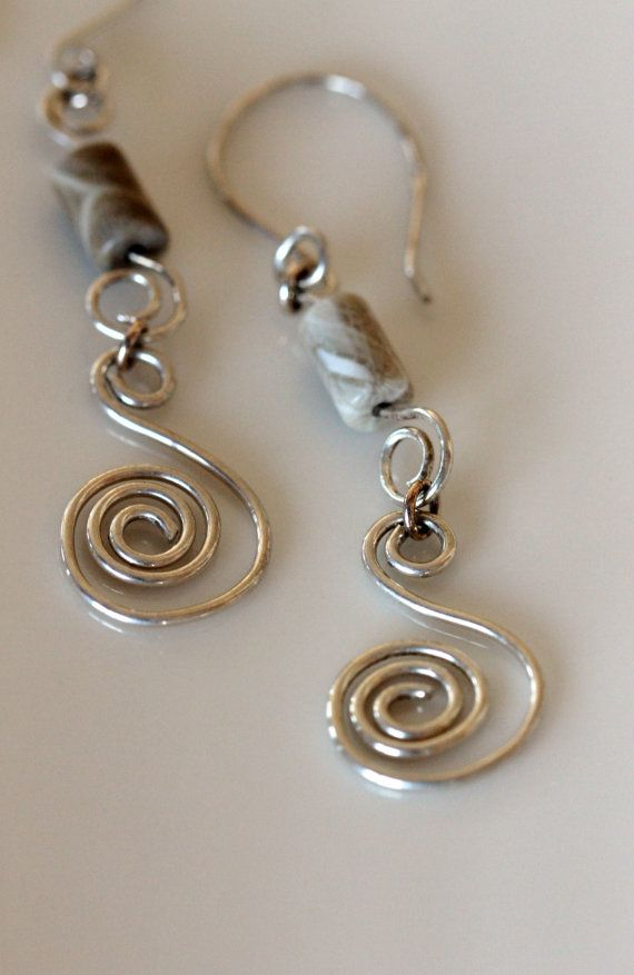 sterling silver coil earrings