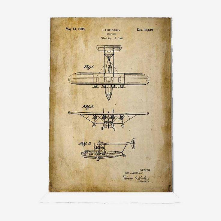 Technische Zeichnung Poster Flugzeug // caracda.de // Lieber was Gutes