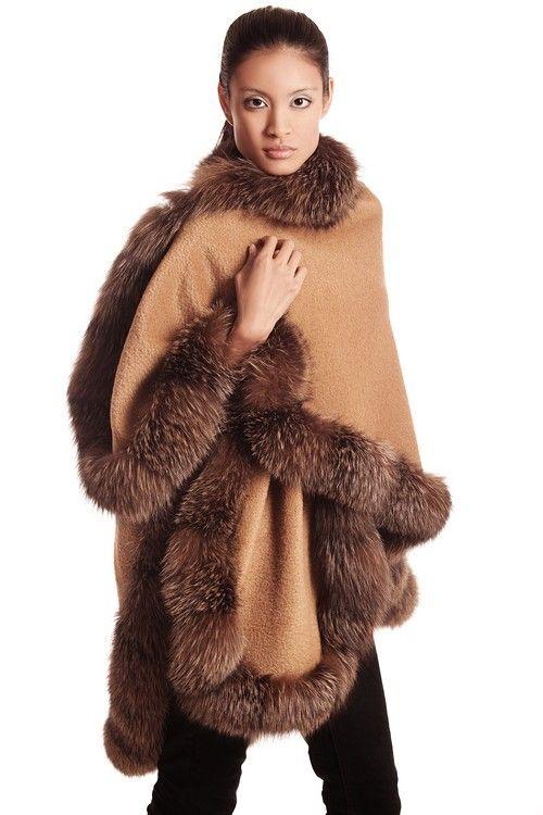 Camel Alpaca Cape Fox Trim: Fall 2013-Winter 2014. #fall2013 #furfashion #camelcape