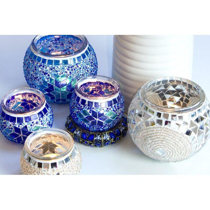 Świecznik, lampion mozaikowy, dekoracyjny, ręcznie wykonany, szklana mozaika