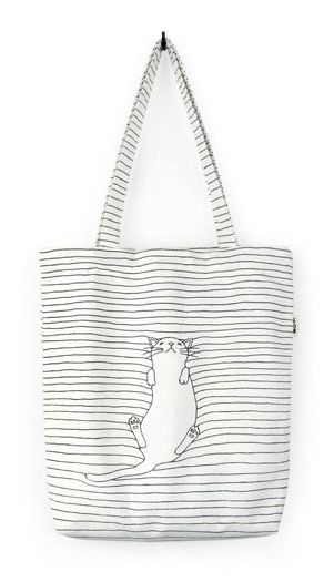 Fashiontroy Hipster & indie white cat printed striped cotton tote bag