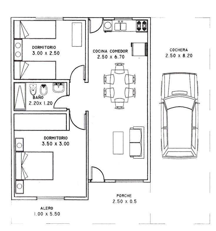 Plano de casa de 2 dormitorios y 80 metros cuadrados - Planos de casas de piedra ...