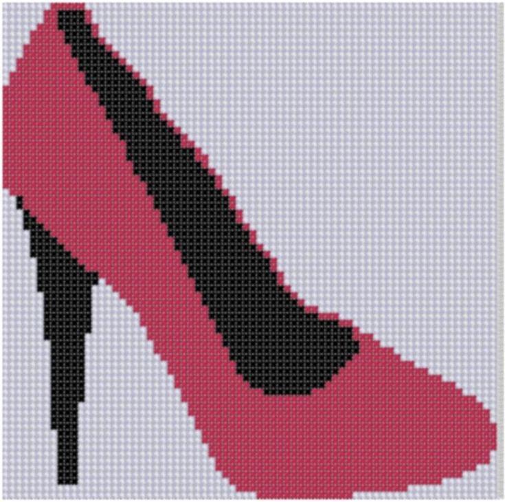 Red High Heel Shoe Cross Stitch Pattern