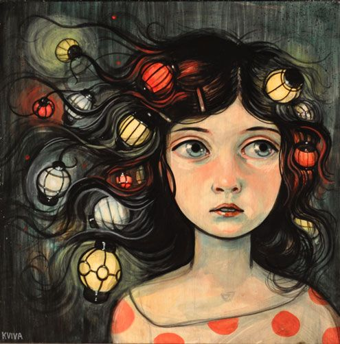 Lantern Tangle by Kelly VivancoKelly Vivanco, Trav'Lin Lights, Artists Kelly, Acrylics, Fashion Illustration, Childhood, Hair, Lanterns, Painting