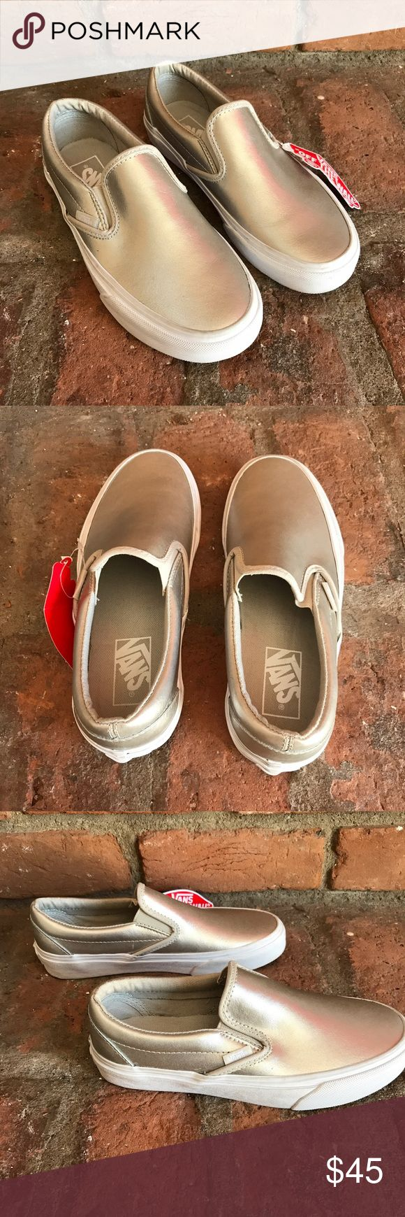 Vans nwt classic slip on sneakers silver ❗️ NWT vans classic sneakers super cute size women's 6 Vans Shoes Sneakers