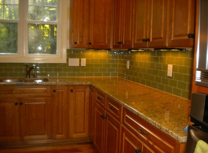 Green Backsplash Looks Great With Oak Cabinets Backsplash Tile