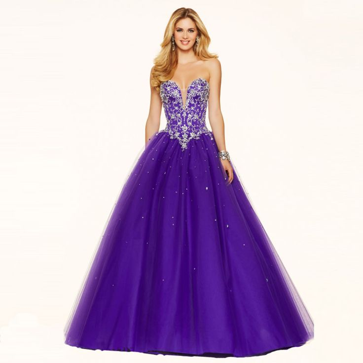 New Beaded and Crystals Purple Ball Gown Prom Dresses Lace Up Back Party Dresses Vestidos De Novia Evening Dress
