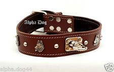 Real Leather Dog  Collar For German Shepherd with studs