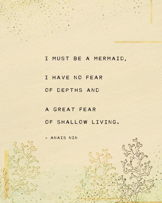 Anais Nin Quote Art I Must Be A Mermaid Wall Decor Art Print