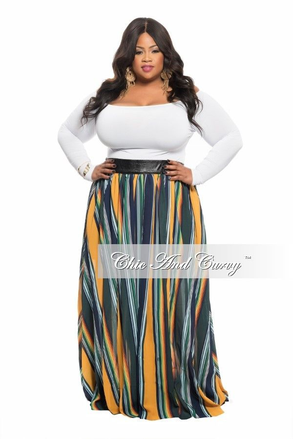 Plus Size Maxi Skirt with Faux Leather Waistband in Blue, Yellow a – Chic And Curvy