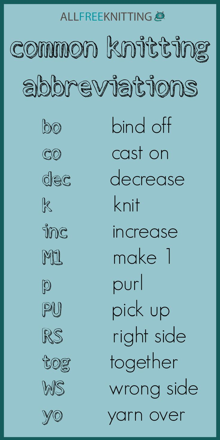 Pin now, read later: Common Knitting Abbreviations. Print this out and stick it in your knitting bag!