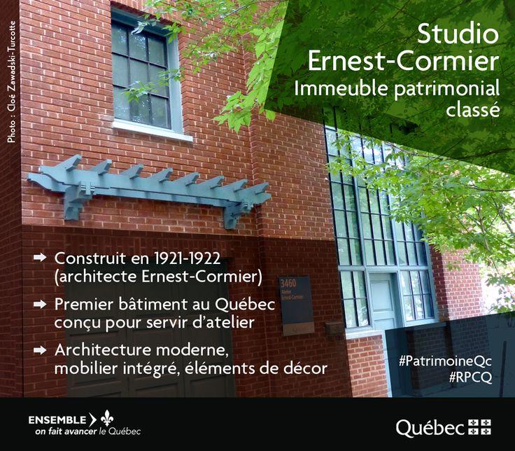 Le studio Ernest-Cormier présente un intérêt historique par son association à l'architecte qui l'a construit en 1921 et 1922. #PatrimoineQc #RPCQ