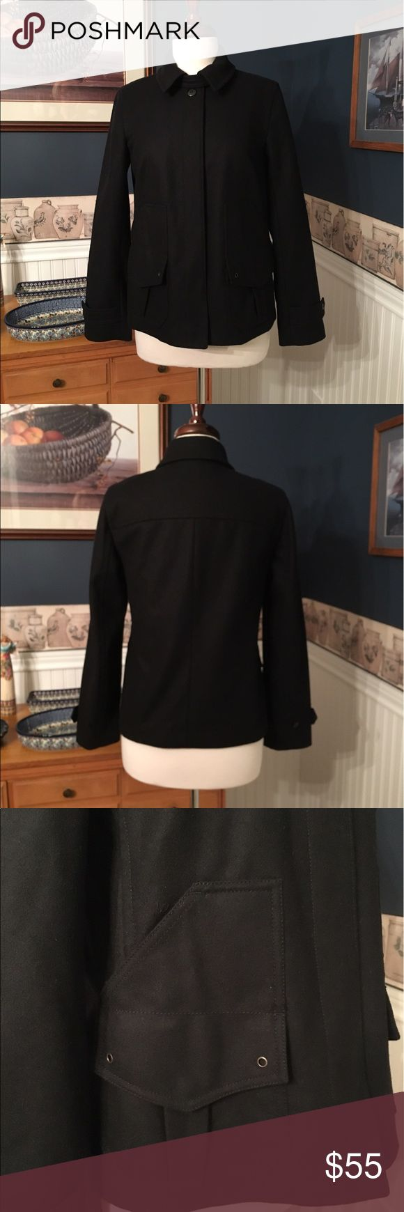 J Crew Coat Size XS Super cute classic J. Crew black coat in excellent condition., like new. The care tag was removed from the coat , but I believe it is a wool blend , but not itchy .  It is fully lined. Size XS . It is 24 inches long and 18 inches armpit to armpit. The sleeves are 18 inches long from the armpit  down . J. Crew Jackets & Coats
