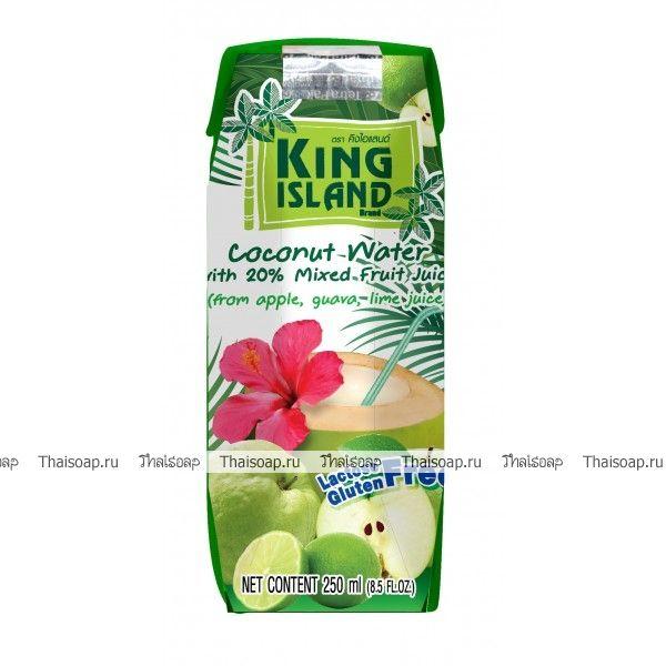 """Кокосовая вода (яблоко, лайм, гуава) """"King Island"""", 250 мл.  Кокосовая вода – природный изотонический напиток, насыщающий кислородом все клетки организма, улучшающий обмен веществ, содействующий снижению веса, поднимающий иммунитет, способствующий нормализации уровня сахара в крови. Полезен при борьбе с вирусами, в т.ч. герпеса, гриппа и др. Натуральный источник минералов, содержит натрий, кальций, железо, магний, фосфор, медь, калий, селен, марганец, цинк, глюкозу, а так же витамины: С…"""