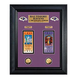 NFL® Baltimore Ravens Super Bowl Framed Ticket and Game Coin Collection