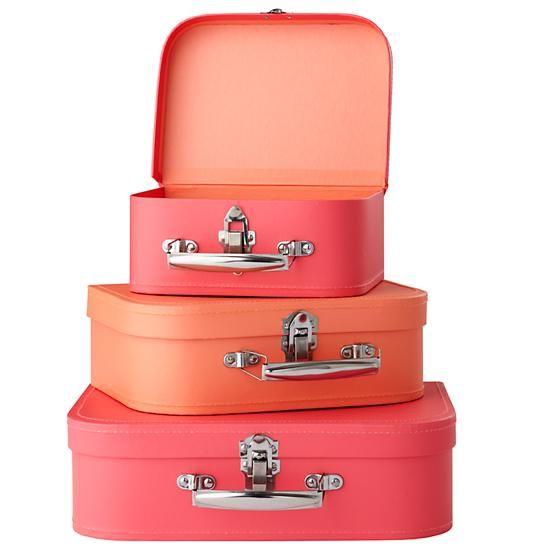 Bon Voyage Suitcase Set (Pink/Peach)    The Land of Nod