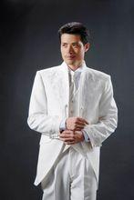 Nach Maß Neue Stil Stehkragen Bräutigam Smoking weiß Beste Groomsman Wedding Männer Anzüge Bräutigam Jacke + Pants + Tie + weste(China (Mainland))