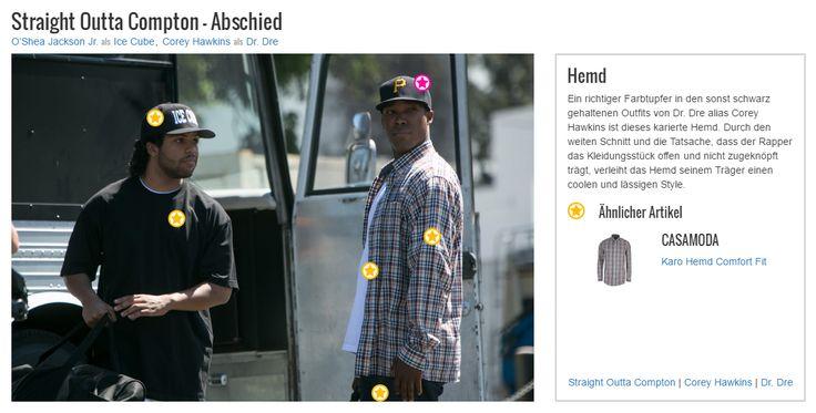 Ein richtiger Farbtupfer in den sonst schwarz gehaltenen Outfits von Dr. Dre alias Corey Hawkins ist dieses karierte Hemd. Durch den weiten Schnitt und die Tatsache, dass der Rapper das Kleidungsstück offen und nicht zugeknöpft trägt, verleiht das Hemd seinem Träger einen coolen und lässigen Style.
