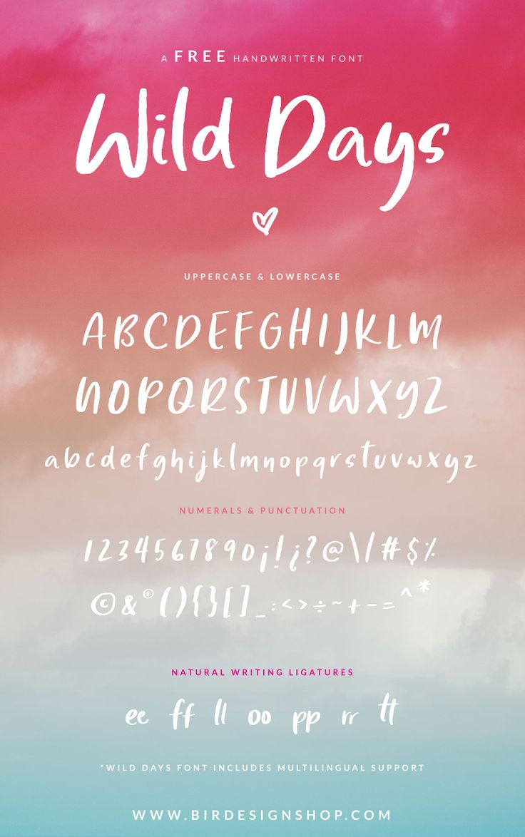 Free handwritten font by Birdesign - Free script font with ligatures