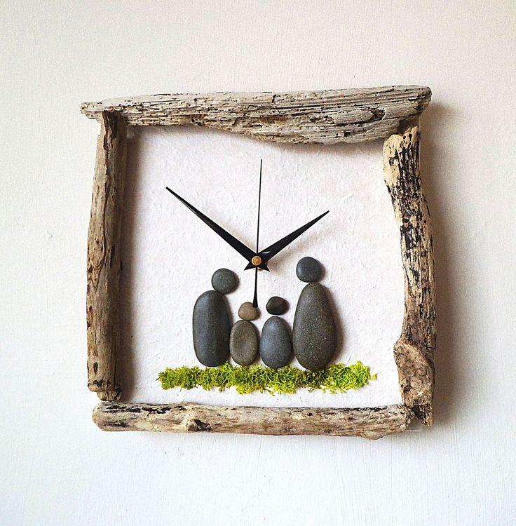 Driftwood Clock - Pebble Art Clock - Pebble Family - Beach Wall Clock - Nautical…