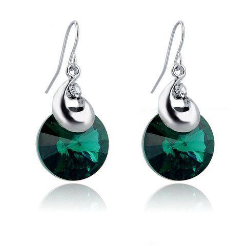 Hook earrings round eardrop silver plated dangle - Austrian Crystal Jewelry