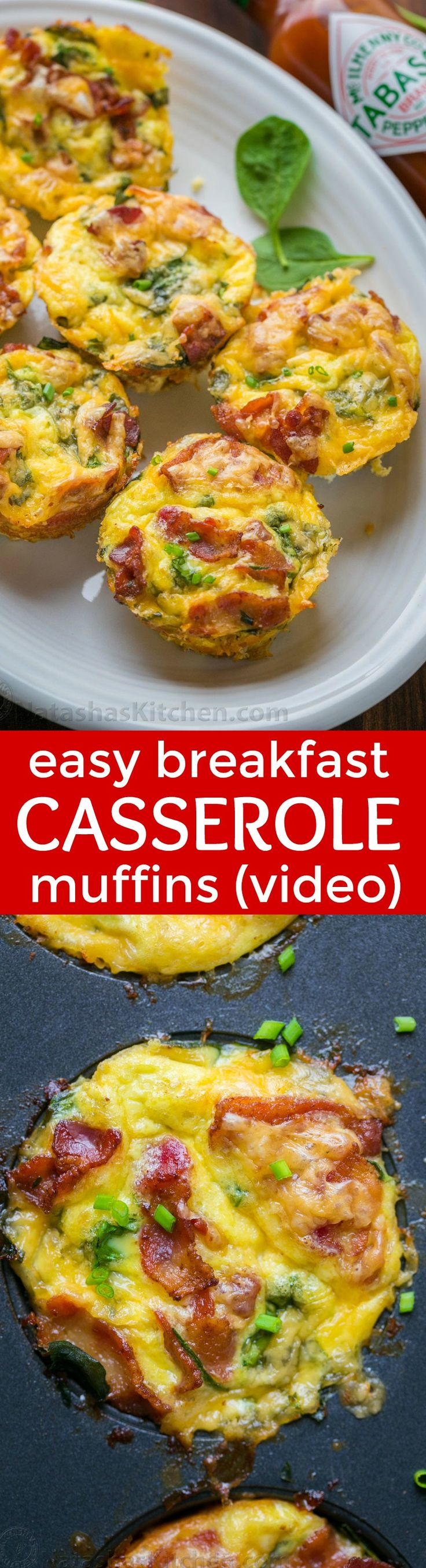 """Breakfast casserole muffins come together quickly. Loaded with potato, spinach, eggs, cheese and crisp bacon. Freezer friendly make-ahead breakfast muffins! 