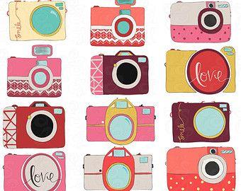 Camera Digital Clip Art, Pinks, Purples & Yellows