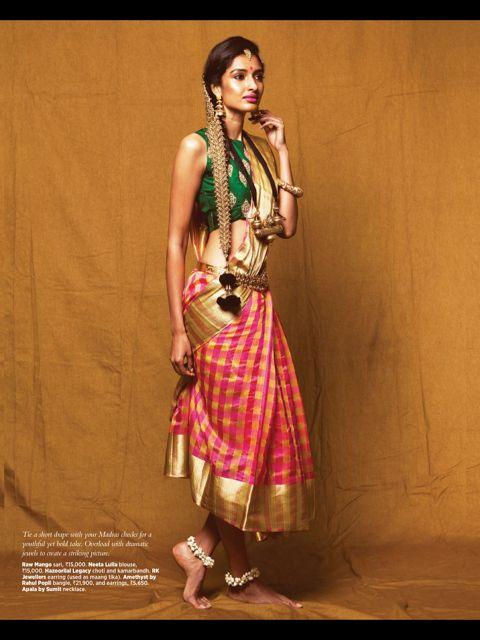 Checks print saree or sari and blouse. Love the bridal braid hair accessory.