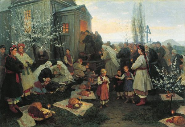 Easter, by Nikolai Kornilovich Pimonenko (1862-1912)