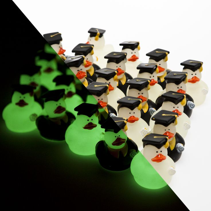 """Glow in the dark grad duckies 13/4"""" high; $9.95 - 24 ducks per pkg; """"float in the position in which they land - but tip to side easily"""""""