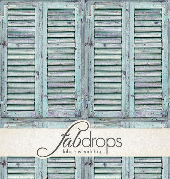 Painted Shutter Door Background for Pictures - Turquoise Wood Shutters - Family Portrait Photo Backdrop (FD6705)