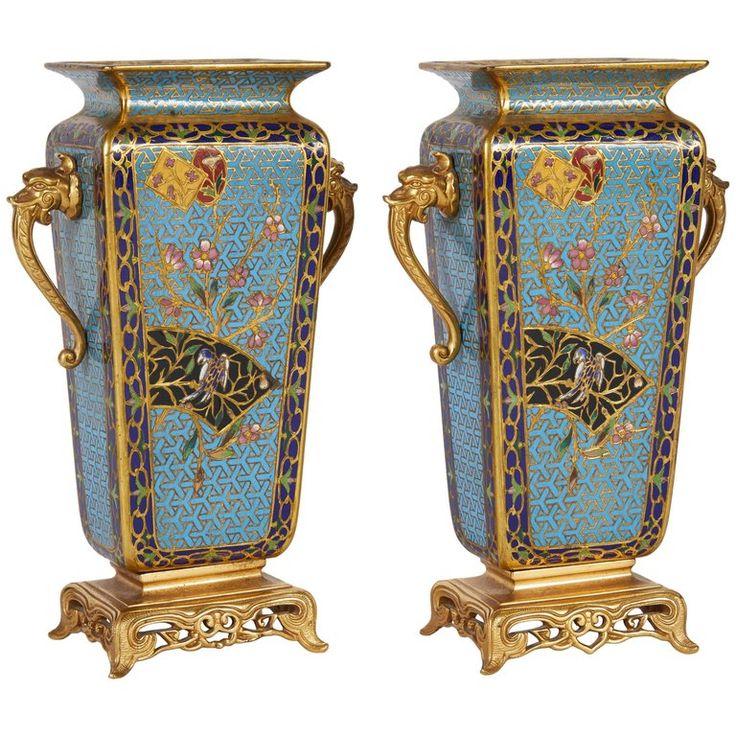 Pair of French Japonisme Bronze Ormolu and Champlevé Cloisonné Enamel Vases For Sale