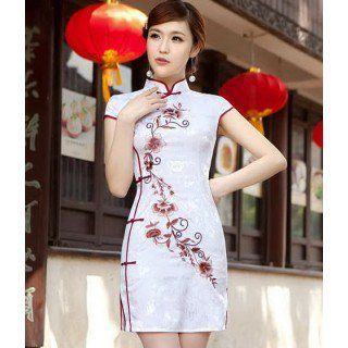 Elegant Cotton Floral Embroidery Modern Bodycon Chinese Qipao Dress