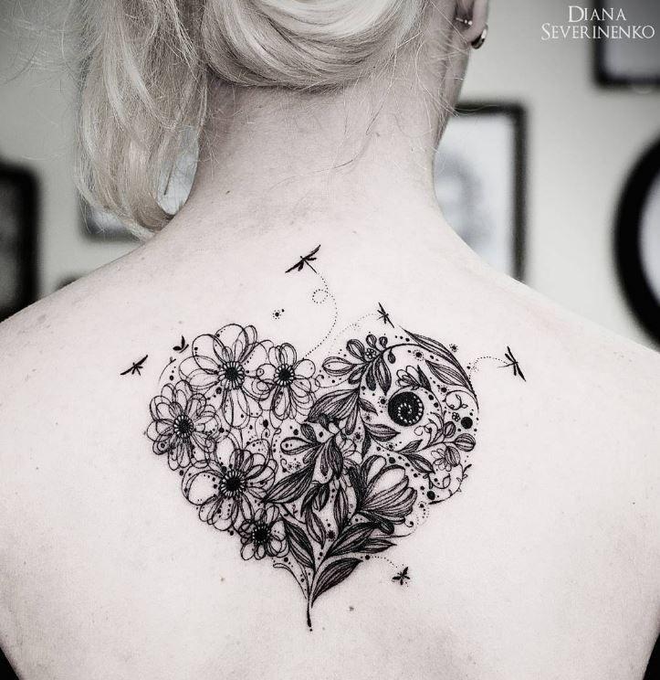 Majestic Heart Flowers Tattoo