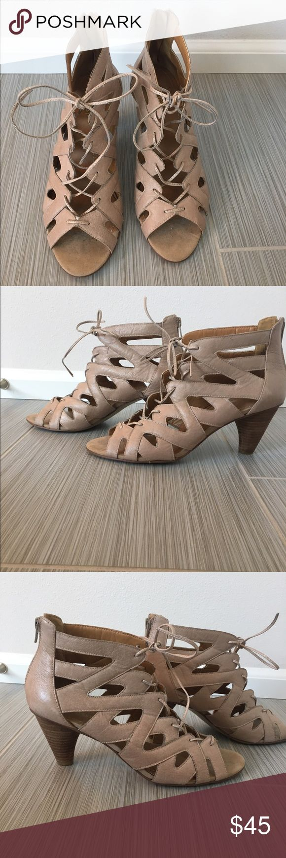 Boho sandals Heeled leather sandals. Looks great with free people style clothing. Worn once. Nine West Shoes Sandals